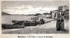 MESSINA: Faro e Lago di Ganzirri. Stretto. Sicilia.Trinacria.+ Passepartout.1891
