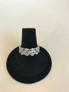 """SILPADA Sterling Silver CZ """"ROUNDABOUT"""" Stackable Eternity Rings SET OF THREE!"""