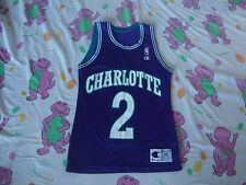 Vintage NBA Charlotte Hornets Larry Johnson Champion Brand Purple Jersey 36 S