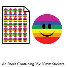 Gay pride Smiley Face-Feuille A4 - 35 38 mm Autocollants-Rainbow Design-idée cadeau