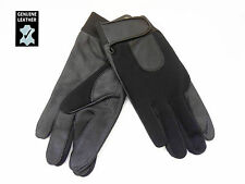 NEW MENS BOYS GENUINE LEATHER GLOVES WITH ELASTICATED FABRIC ONE SIZE GLL-616