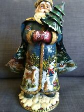 Rustic Santa with Tree Kurt S Adler Collectibles crafted deer tin robe winter