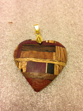"""Carved Assorted Wood Heart Pendant By Craig Lauterbach 1.5"""" Inch with Gold Clasp"""