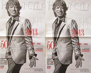 THE ROLLING STONES - MICK JAGGER - lot of 2 local 2013 Houston, Texas newspapers
