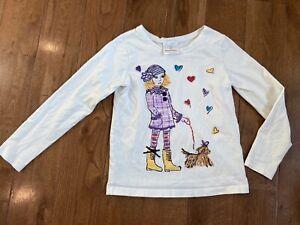 Girls Hanna Andersson Walking Dog Graphic T Shirt White Sz 120/ 6-7