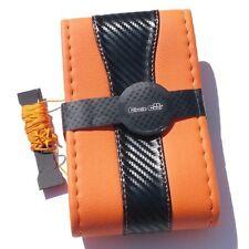 Orange+CF Style PVC Leather DIY Steering Wheel Cover Wrap Needle + Thread 47025