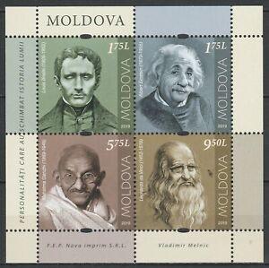 Moldova 2019 Famous people, Gandhi, Da Vinci, Einstein, Braille MNH sheet