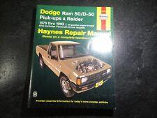 1979-1993 Dodge Ram 50 Haynes Repair Manual D50 Dodge Raider 4x4 Plymouth Arrow
