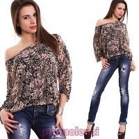 Maglia donna velata maglietta multicolor tunica ampia leggera nuova CC-1418