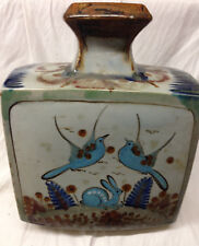 "EL PALOMAR TONALA BLUE GREEN LARGE SQUARE VASE 12 1/2"" BLUE BIRD RABBIT FLOWERS"