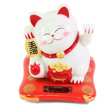 Small White Beckoning Fortune Happy Cat Maneki Neko Solar Toy Home Decor Gift