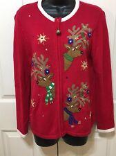 'Ugly Christmas Sweater' Medium Reindeer Star Ornament Red White Zipper Sequin