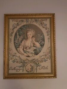 Antique Tapestry Framed picture of girl, beautiful