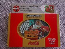 New 2 Decks Playing Cards in Tin 1998 Coca Cola Limited Edition Santa