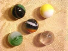 BEAUTIFUL Vintage 5 Glass Marbles Very Old  Collectible #H403