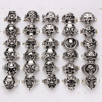 20pcs Wholesale Jewelry Lots Mixed Style Skull Silver Plated Rings