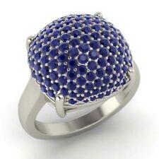 2.50 Ct Sapphir Natural Gemstone Wedding Ring Round Real 14K White Gold Size N O