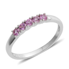 STERLING SILVER PINK LAB CREATED BRILLIANT SAPPHIRE HALF ETERNITY BAND RING 6