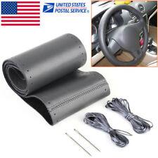 DIY Car Auto Black Genuine Leather Steering Wheel Cover Wrap Sew-on 38CM Kit