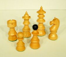"VIENNESE COFFEE HOUSE CHESS MEN - HISTORIC 19th CENTURY STYLE SET - K=4"" (797)"