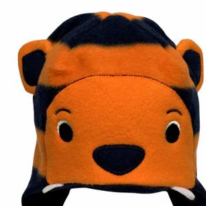 Gymboree Artic Explorer Orange Navy Tiger Fleece Hat Sz 6-12 Months NWT