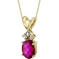 14 Kt Yellow Gold Oval 1.00 cts Created Ruby Diamond Pendant