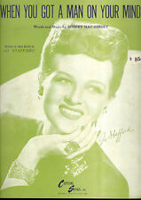 "JO STAFFORD Sheet Music ""When You Got A Man On Your Mind"" 1947"