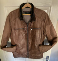 Hugo Boss Lambs Leathet Soft Supple  Jacket Tan Size 52 XL