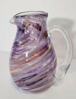 Purple Swirl Glass Creamer | Hand made | Small Pitcher | Signed 2001