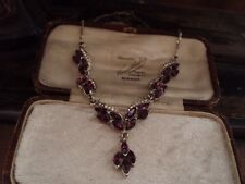 Vintage Clear & Amethyst Navette Crystal Drop Necklace Figaro Chain