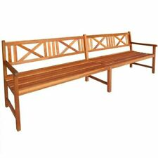 vidaXL Patio Outdoor Garden Wooden Bench 4 Seater Seating Wood With Armrest Park