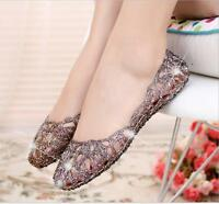 Summer Womens Ventilate Crystal Shoes Jelly Hollow Sandals Flat Shoes Size 5-9