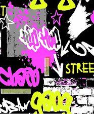 3 X Graffiti Black Pink Kids Boys Girls Childrens Feature Wallpaper Debona 6391