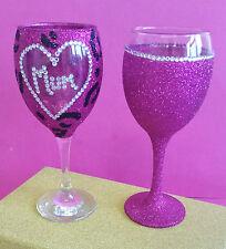 2 Rosa Leopardo mamá Completo Gem vino Brillo Gafas cumpleaños regalo de Navidad Presente