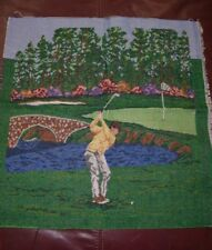 """Golfer Gold Swing Tapestry Panel Fabric Pillow Panel 18"""" L x 18""""H"""