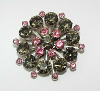 Vintage pink & gray Rhinestone BROOCH pin costume jewelry