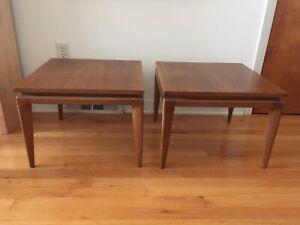 vintage mid century modern erwin lambeth Walnut side tables Pair