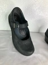 ARIAT Black Nubuck Leather Floral Stitched Mary Jane Wedge Clogs Sz. 6 B