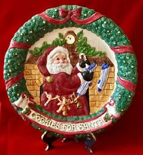 Vintage 1993 Fitz and Floyd 10.5� Cookies For Santa Canape / Sweets Plate