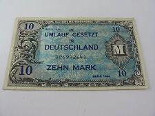 Crisp 10 Mark Zehn Mark German Banknote Note1944 Allied Occupation French Zone