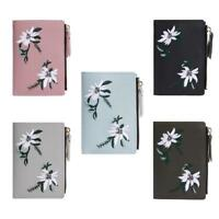 Women Wallet PU Leather Print Flower Cash Pocket Photo Mini Clutch Short Purse