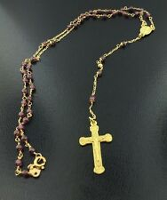 18k yellow gold beaded rosary necklace, imported from Italy