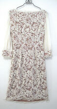 Vintage Dress Embroidered Battenburg Lace White Cotton Lined M
