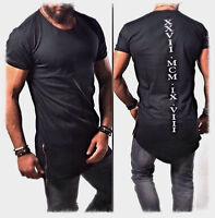 Designer Herren Oversize T-Shirt Kurzarm Schwarz Weiß Club XXVII Print Slim NEU