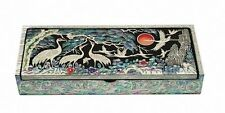 Mother of pearl wood Fountain pen stand pencil case box vase holder crane & sun