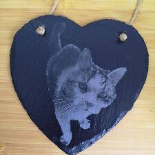 Personalised Pet Photo Engraved Onto Slate, Heart Slate, Cat, Dog