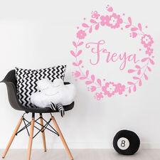 Personalise fille Nursery Chambre Autocollant Mural Fleur Rose Decal Decor
