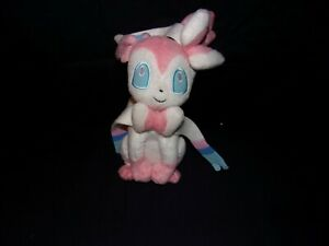 "TOMY POKEMON  Fairy - Eevee Evloution - Pink White Sylveon Plush Doll 10"" - VGC"