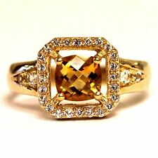 10k yellow gold womens halo citrine topaz band ring 3.2g ladies fashion womens