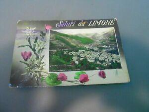 CARTOLINA POSTALE COLORI /SALUTI DA LIMONE datata 1937 vintage (104)
